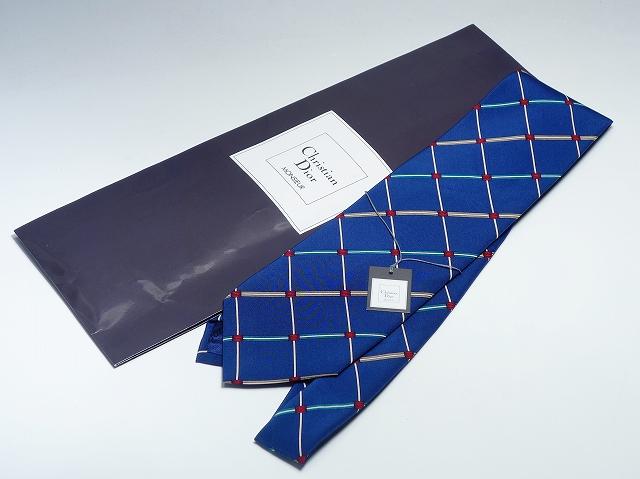Christian Dior クリスチャン・ディオール 格子柄 ブルー ネイビー ネクタイ 100% シルク メンズ 【中古】