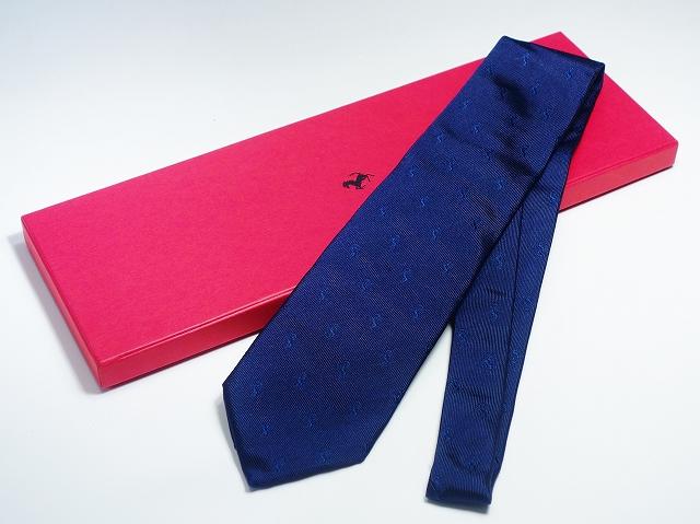 Ferrari フェラーリ エンブレム 跳ね馬 ネイビー 紺 ネクタイ 100% シルク メンズ 【中古】
