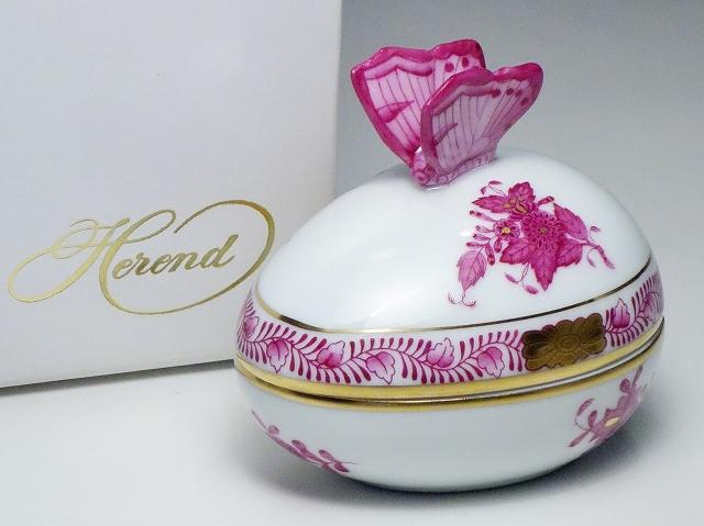 Herend ヘレンド アポニーピンク 卵型ボンボン入れ ボンボニエール 蓋物 バタフライ【中古】