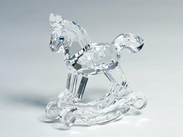 SWAROVSKI スワロフスキー クリスタル ロッキングホース 馬 フィギュリン 置物 オーナメント インテリア 【中古】