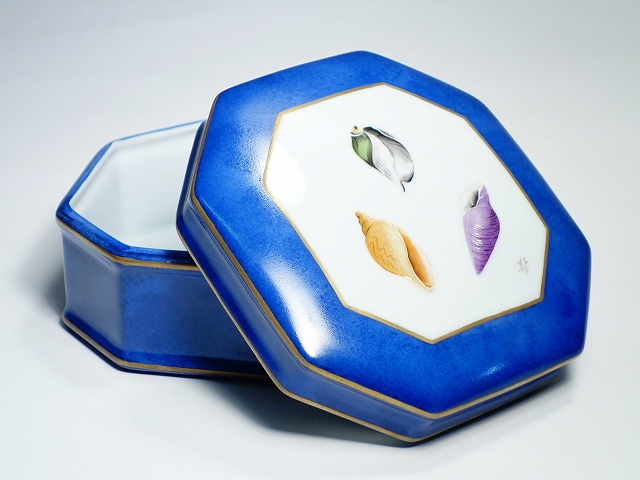 Laure Selignac ロールセリニャック Limoges France リモージュ フランス 八角 オクタゴナル ボックス 12.8cm 蓋物 貝殻 ブルー 【中古】
