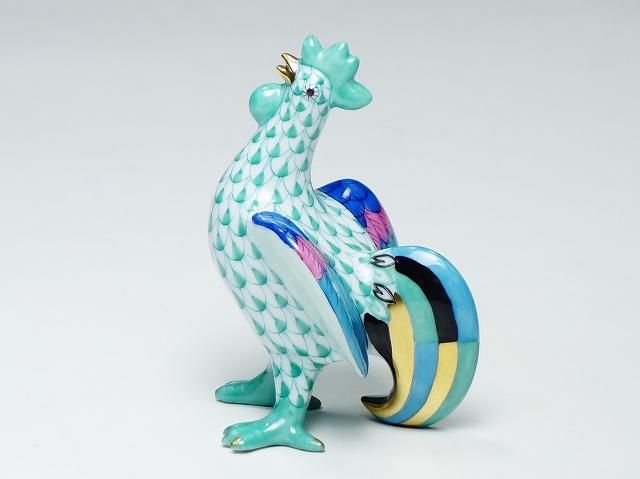 Herend ヘレンド エカイユ ニワトリ 8cm 陶器人形 フィギュリン 干支 インテリア【中古】
