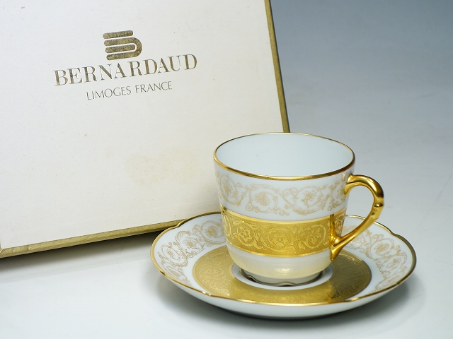 BERNARDAUD ベルナルド LIMOGES リモージュ 1900~78年 金彩 コーヒー カップ&ソーサー C&S CS【中古】