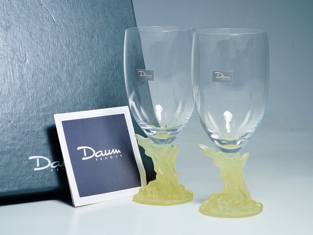 Daum France ドームフランス クリスタルガラス 装飾 ワイングラス 2客 ペア【中古】