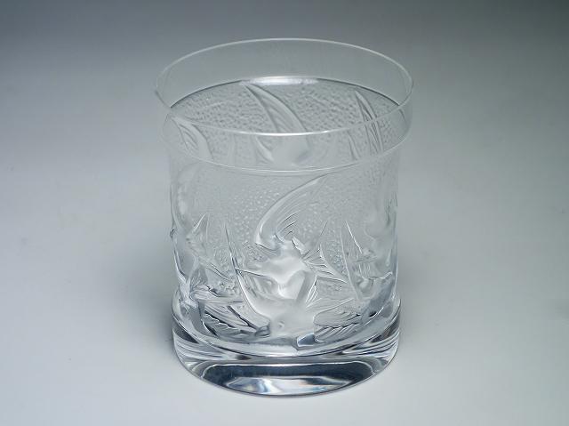 LALIQUE ラリック イロンデル ツバメ クリスタル タンブラー オールドファッション ロック グラス フロステッド【中古】