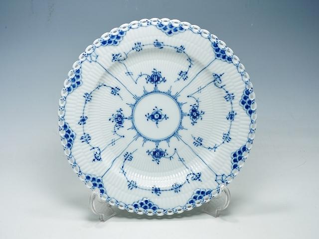 Royal Copemhagen ロイヤルコペンハーゲン ブルーフルーテッド フルレース プレート 25cm ディナー 大皿【中古】