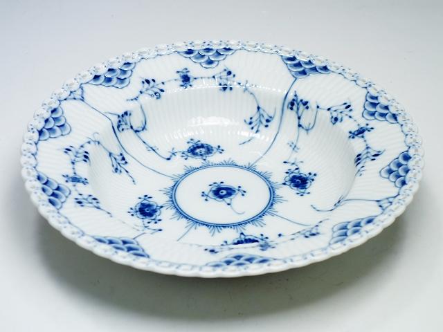 Royal Copemhagen ロイヤルコペンハーゲン ブルーフルーテッド フルレース ディーププレート 23cm 深皿 大皿【中古】
