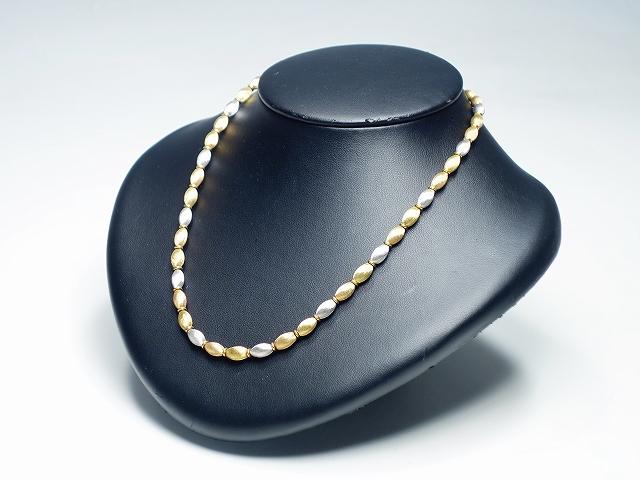 【トリプルカラー ゴールド ネックレス】( K18 スリー イタリア製 アクセサリー ジュエリー )【中古】
