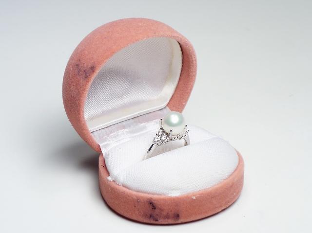 【プラチナ ダイヤ パール #14 リング】 (Pt900 D 0.33 指輪 アクセサリー ジュエリー)【中古】