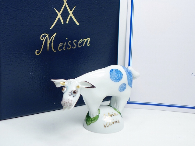 【マイセン ミニ干支 フィギュリン 丑】(MEISSEN 陶器人形 置物 インテリア 牛 ウシ かわいい おもしろ 縁起物)【中古】