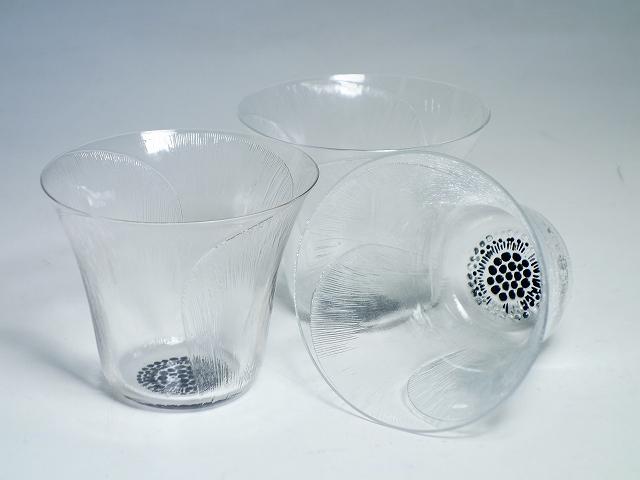 【ラリック 芥子 ゴブレット 3客セット】(LALIQUE ガラス かわいい おしゃれ 花 アンティーク ヴィンテージ カップ コップ ロックグラス)【中古】