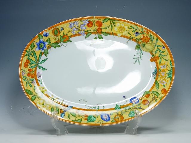 【エルメスシエスタ オーバルプラター 41.5cm】(HERMES 食器 かわいい おしゃれ パーティー皿 プレート 盛り皿)【中古】