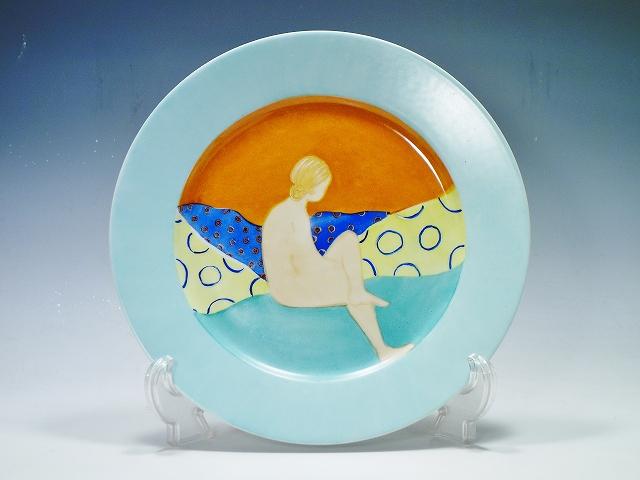 【リモージュ S.LE MARCHAND PARIS サイン 絵皿】(LIMOGE 手描き ハンドペイント 人物画 大皿 直径30cm かわいい おしゃれ フランス 水色)【中古】