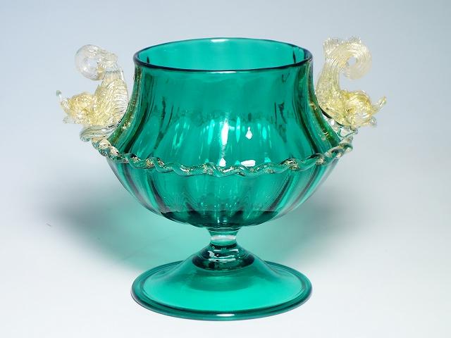 【ヴェネチアングラス フィッシュハンドル グリーン ベース】(ベネチアンガラス ムラノ murano インテリア 置物 花瓶 花器)【中古】