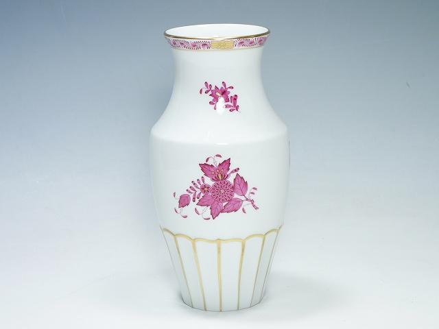 【ヘレンド アポニー ピンク フラワーベース】(ブランド 洋食器 HEREND 赤 レッド インテリア 花瓶 フラワーベース)【中古】