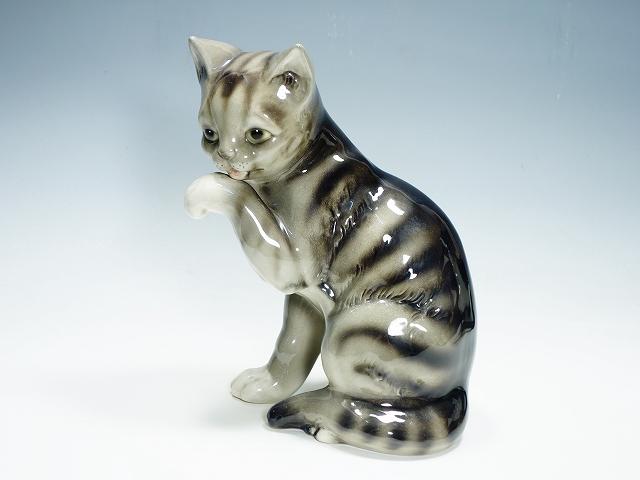 Goebel ゲーベル社 26cm グレー 猫 ねこ ネコ 陶器人形 フィギュリン フィギュア【中古】