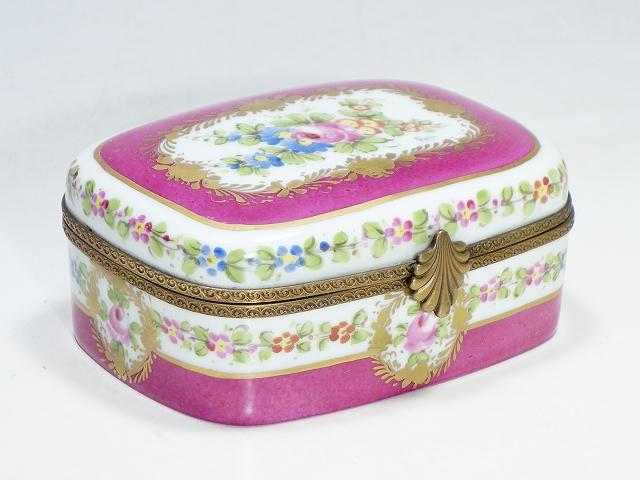 Limoges France リモージュ フランス 大型リモージュボックス ローズブーケ ピンク【中古】