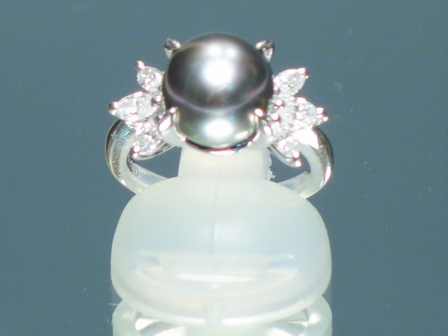 黒蝶パール ダイヤモンド レディース リング 10.5mm 0.6ct 保証書あり【中古】