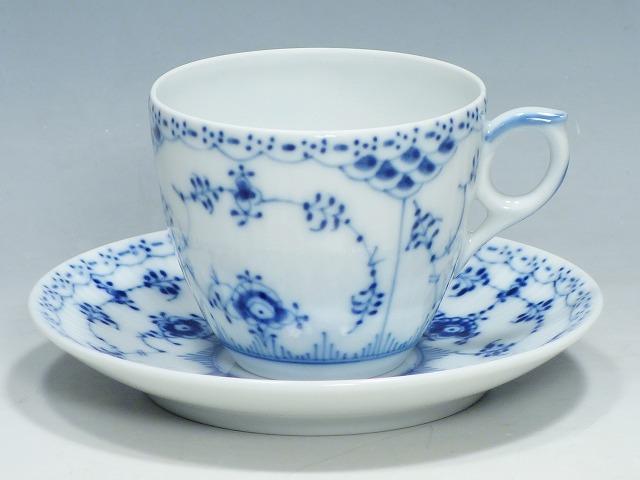 ロイヤルコペンハーゲン Royal Copenhagen ブルー フルーテッド ハーフレース コーヒ― カップ&ソーサー【中古】
