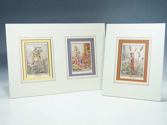 世界中で愛されているセシリーが描くかわいらしい妖精たちの版画です 超激得SALE フラワーフェアリー 版画 1940年代 ビンテージCicely Mary Barker's ファクトリーアウトレット 3点セット インテリア 中古 絵画 セシリーMパーカー