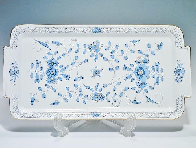 【中古】正規品 マイセン (Meissen) 金彩 インドの華 インディアンリッチ ブルー サンドイッチプレート 幅30cm