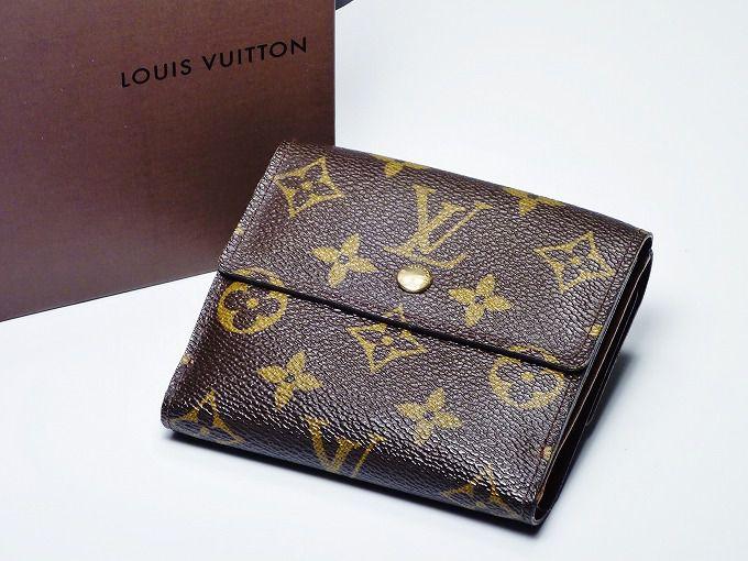 LOUIS VUITTON ルイ ヴィトン モノグラム 二つ折り 財布カード 札入れ イニシャル入り 【中古】