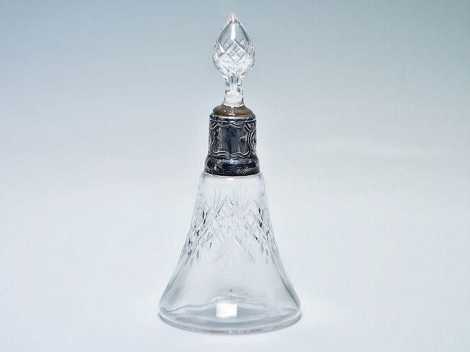 イギリス製 スターリングシルバー 925 ホールマーク刻印有 ガラス製 香水瓶 ボトル 置物 【中古】