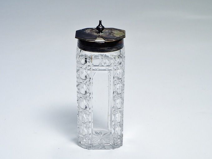 フランス製 アンティーク アールデコ調 ガラス製ボトル 瓶 雑貨 【中古】
