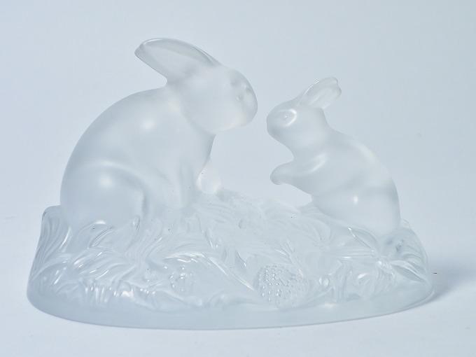 フランス SEVRES セーブル クリスタル 兎 ウサギ 親子 2匹 フィギュリン オブジェ 置物【中古】