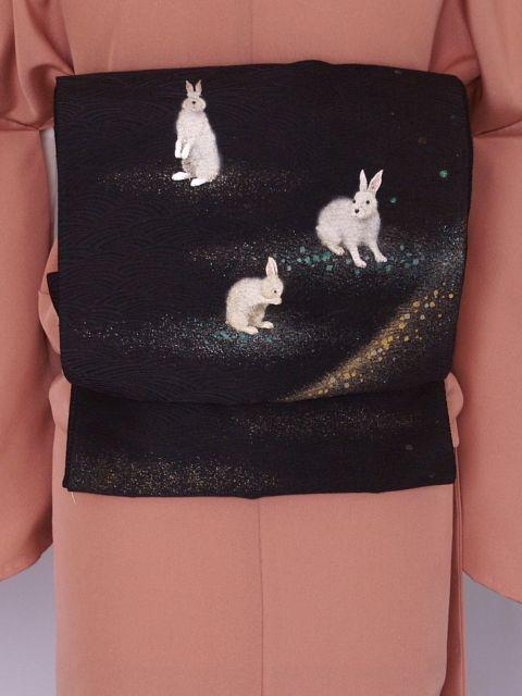 愛らしいうさぎの格安正絹袋帯 K1139-1