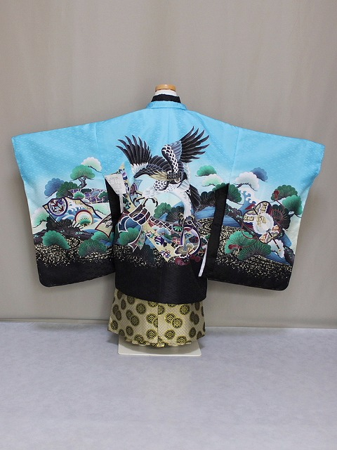 七五三・五歳用男児の着物と袴セット Lサイズ D4458-02