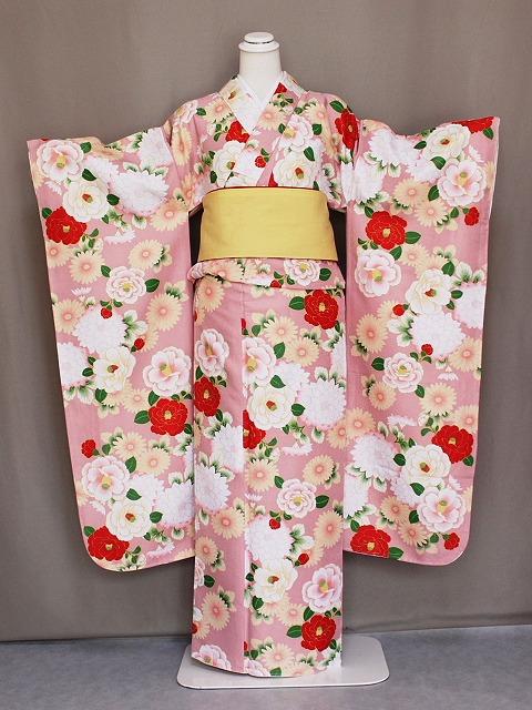 振袖 花ひめ 襦袢付き振袖 ピンク色 仕立上り 古典柄 振袖と長襦袢のセット ポリエステル 送料無料 D2361-02