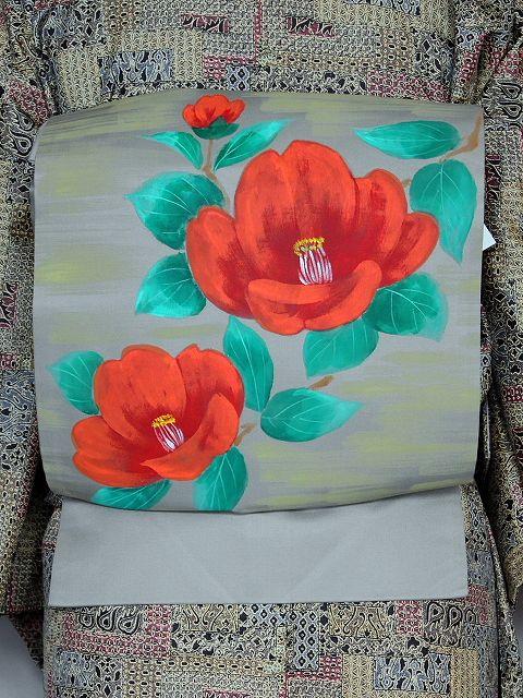 すぐに着用できます 季節に合わせて楽しむ おしゃれな正絹名古屋帯 お仕立て済名古屋帯 W2722-18