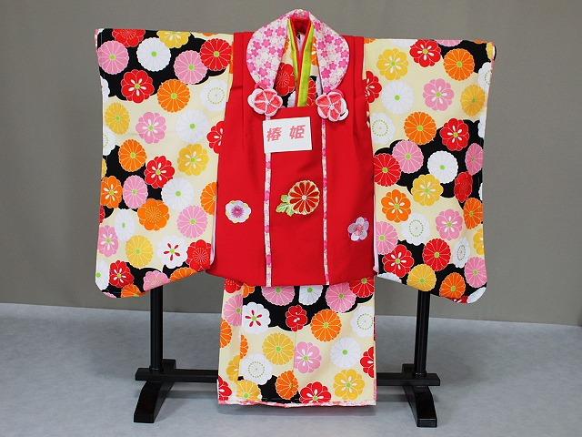 送料無料 椿姫の被布セット 七五三・三歳用の被布セット 日本製三歳用の着物 七五三用被布セット X0543-03