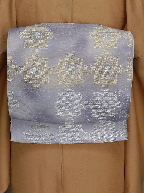 正絹夏の袋帯 日本製 西陣織夏の袋帯 夏の着物用袋帯 お仕立済の夏袋帯 グレーの帯 E7464-02