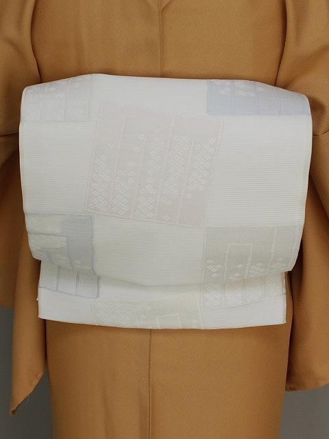 正絹夏の袋帯 日本製 西陣織夏の袋帯 夏の着物用袋帯 お仕立済の夏袋帯 白色の帯 E7464-05