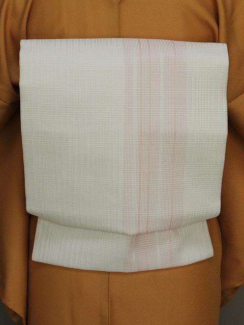 夏用名古屋帯 お仕立て済 正絹 西陣織 日本製 白色の帯 送料無料 E7609-01