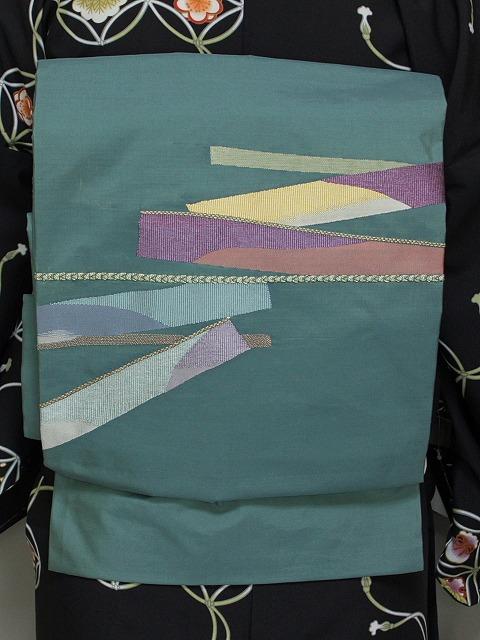 正絹名古屋帯 すくい織 仕立て済 おしゃれ帯 八寸名古屋帯 送料無料 H2466-02