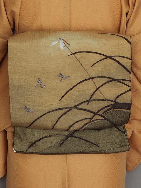 袋帯 お洒落帯 季節の帯 しゃれ袋帯 おしゃれ着物に 赤トンボ柄 お仕立て済み 送料無料 M33-01