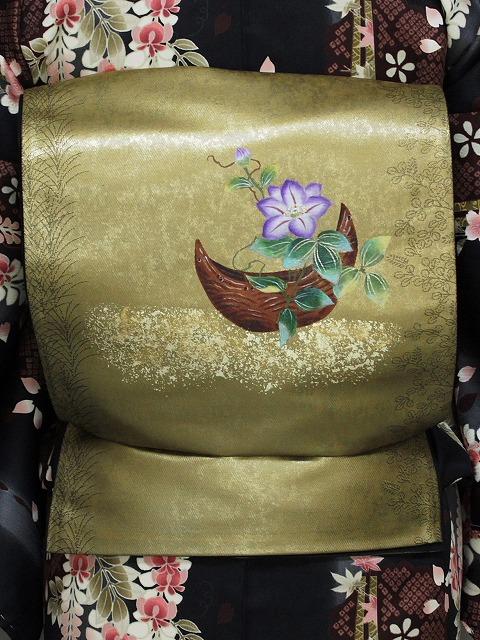 袋帯 正絹 本繭ちぎり絵工芸 谷口妙絵 西陣織 高級おしゃれ帯 仕立て済 送料無料 O3800-01