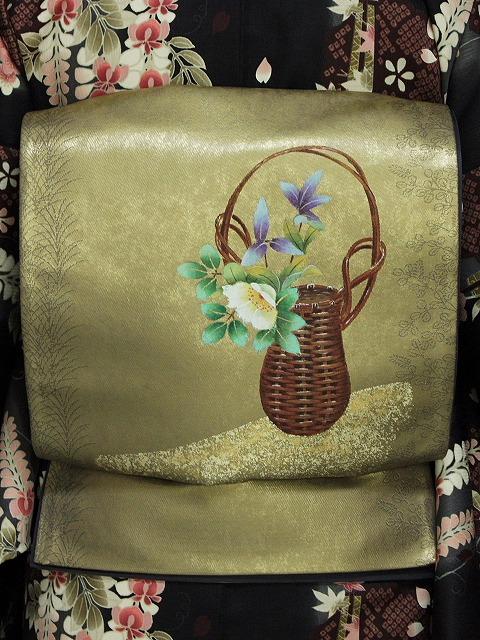 袋帯 正絹 本繭ちぎり絵工芸 谷口妙絵 西陣織 高級おしゃれ帯 仕立て済 送料無料 O3800