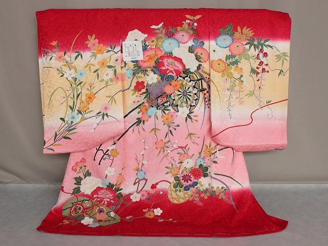 正絹女児初着 女の子お宮参り用着物 日本製 送料無料 E1895-03
