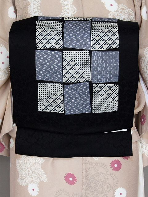 花柄地紋の正絹染名古屋帯 お仕立て上がり すぐに着用できます W8241-09