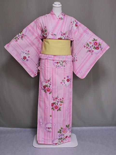 ト-ルサイズの女性用浴衣 大きいサイズ 女物ゆかた 身長の高い方に 女ト-ル浴衣 ピンク色 送料無料 C0214-19