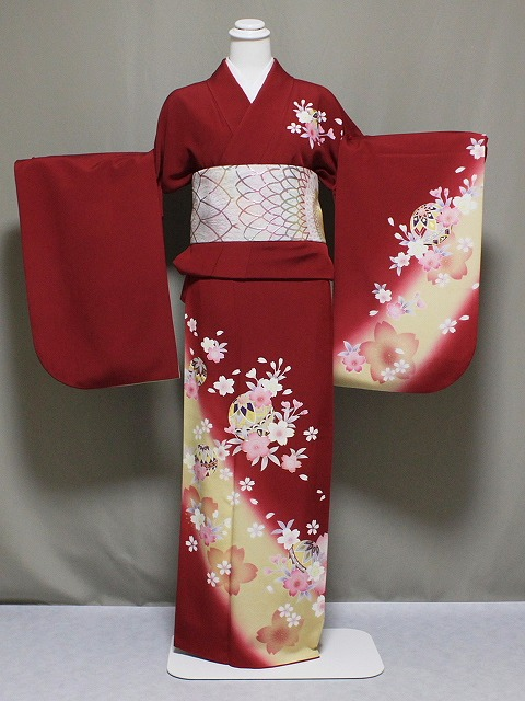 少々難あり(?) お袖の調整します 正絹訪問着の仕立て済 お袖の長さをお好みに Z2909-14H