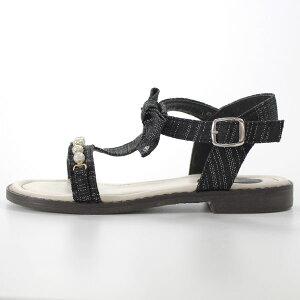 在庫一掃セール 9 11 1:59まで サンダル フラット 開店記念セール 子供 ブラック ジュニア 靴 返品送料無料 amitie tok キッズ S-LYS7400K