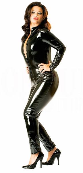 【skinfit】wwh2009-シンプルなPVCキャットスーツ