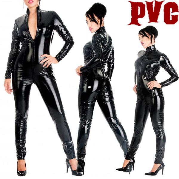 ww-h2009-シンプルなPVCキャットスーツ【送料無料】
