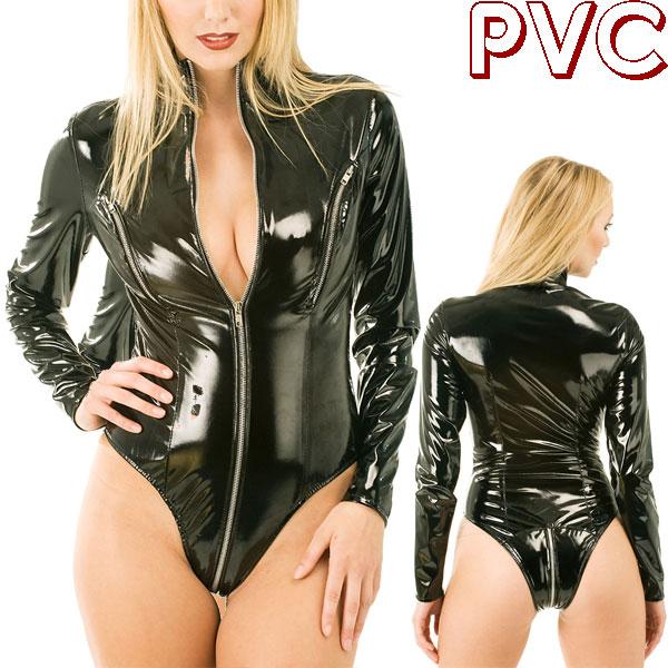 wwh2062-胸元もジッパーでオープン!PVC長そでジッパーテディ