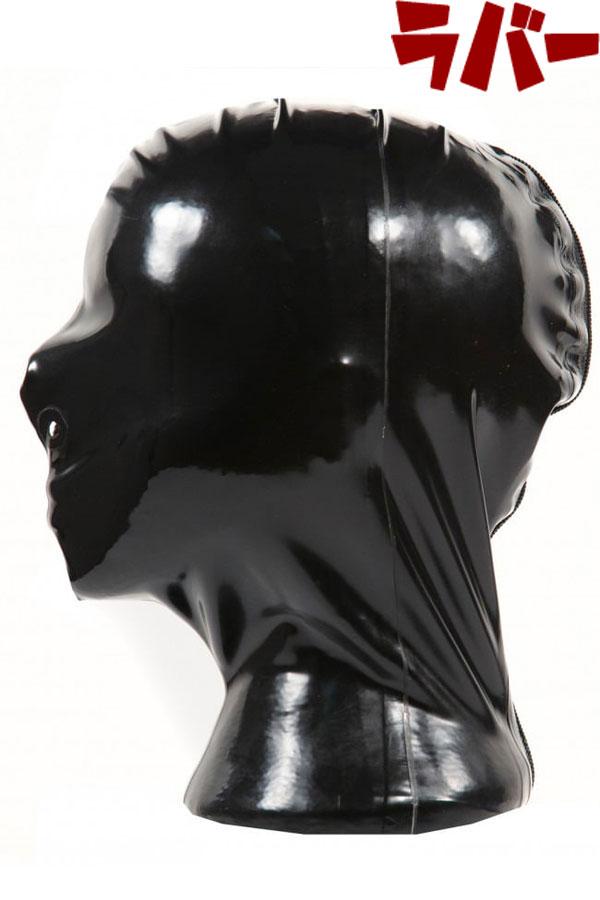 ww-r1344-後ろジッパー・鼻の穴あきラバーマスク【送料無料】